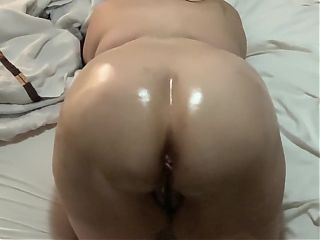 BBW Twerks Oiled Up On The Bed Waiting for BBC Penetration