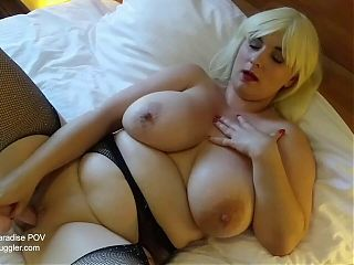 European blonde babe with big tits sucking a big cock